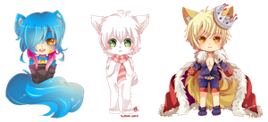 -- Chibi Commissions for Vibrant-Snow -- by Kurama-chan