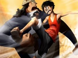 Luffy vs Kuma by Mzag