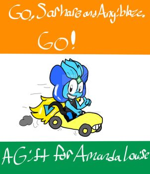 Gift: Go, Sarhare and Angiblaze. Go! by PeanutButterDrawer