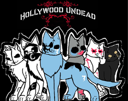 Holly Wood Undead Cats by Sparkleztehpurplecat