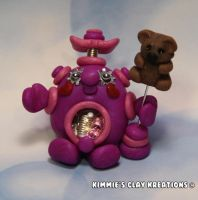 Polymer Clay Robot - I Love Teddy Bears Robot by KIMMIESCLAYKREATIONS