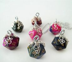 A whole buncha D-20 Pendants by HoneyCatJewelry