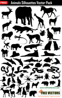 Animals Silhouettes Collection Vector Pack by 123freevectors