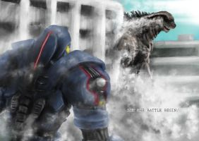 Gipsy Danger Vs Godzilla by superwalkingzombie