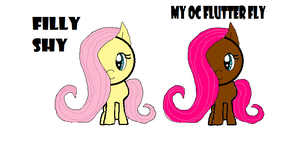 filly shy and my oc of fluttershy named flutterfly by webkinzfun8