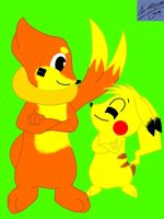 AR: Sparky and Buizel by Marquis2007