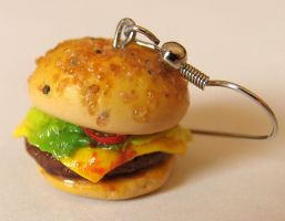 Realistic Cheeseburger Earrings by MotherMayIjewelry