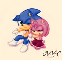 Baby Amy and Sonic by RAWN89