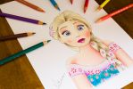 Queen Elsa Drawing (FROZEN FEVER) by Artatyourservice