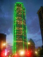 Dallas at night:  green by Dchan18