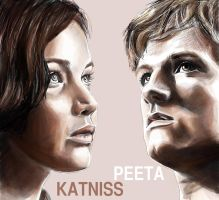 Katniss and Peeta by joanap