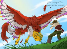Link and the Crimson Loftwing by Umbra-Neko