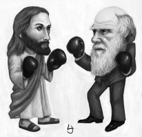 Jesus vs Darwin by kedemel
