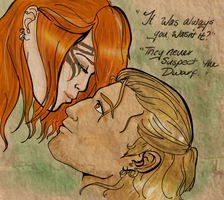 It was you. - Hawke and Varric by Neshira-namea