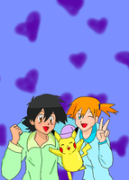 Pokeshipping in Pajamas 1 (requested) by TrainerAshandRed35