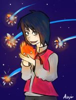 Howl and Calcifer by AiniBluebell