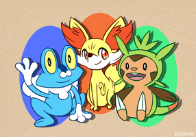Pokemon X/Y Starters by sssonny