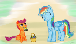 Sketch - Scoots and Rainbow by Euphreana