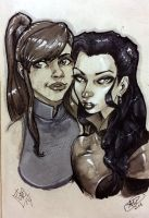 Korra and Asami by AdamWithers
