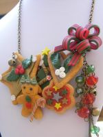 Polymer Christmas Cookie Bib Necklace by cynamonspice