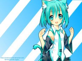 Vocaloid Wallpaper- Cat Miku by RainbowsInside