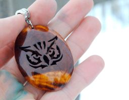 Wooden tribal owl pendant by JOVictory