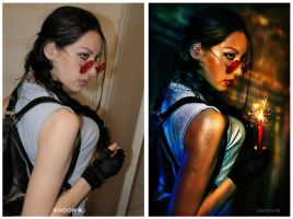 Lara Croft before and after by Daelyth