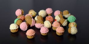 bunch of crochet cupcakes by PannaBalbina