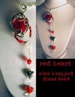 red heart necklace by JozzyKane