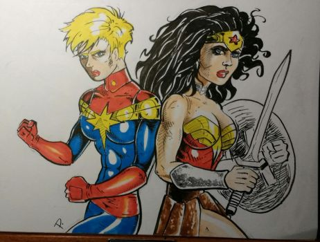 captain Marvel and wonder woman! by theEvilTwin