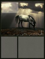 gray horse in sunbeams by renderedsublime