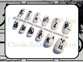 Portal 2 Warning Signs Nail Art by Classikelly
