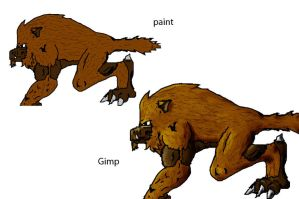 paint vs gimp- wolf beast by RyanAtchley