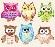 Miscellaneous watercolor owls by BouncyBulldog