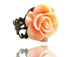 Peach Resin Rose Flower Bronze Filigree Ring by crystaland