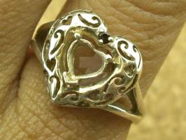 Vintage Sterling Silver Fancy Cut Out Heart Ring by sevvysgirl