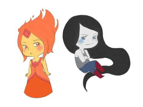 Flame Princess and Marceline by LalaSheiletta