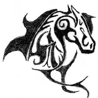 Horse Tribal Tattoo: Graphite by CoyoteHills