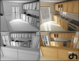 Kitchen 3D WIP by DaniNeves