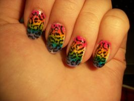 Rainbow Leopard Nails by QueenAliceOfAwesome