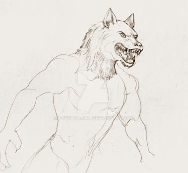 Werewolf Angry - quick pencil sketch by Svetoslawa