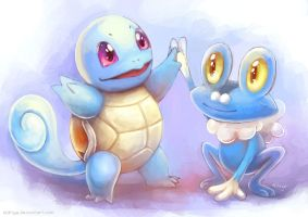 New Friends: Squirtle and Froakie by eldrige