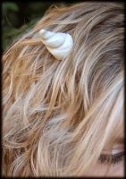 White Horns with Model by NeverlandJewelry