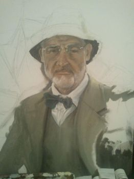 Sean Connery Indiana Jones Portrait WIP by FortuneandGlory