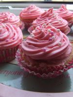 Pink Strawberry Cupcakes by ElectedTheRejected