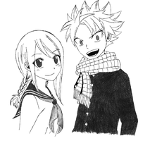 Natsu and Lucy in uniform by misstirius