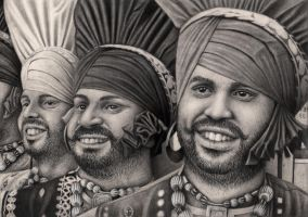 'BHANGRA DANCERS' graphite drawing by Pen-Tacular-Artist