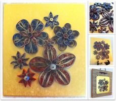 Quilled Gold Edged Flowers by SpiralArtisan