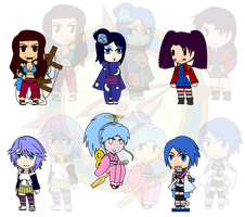 Assorted Chibis - AU Doll Collection by Dragon-FangX