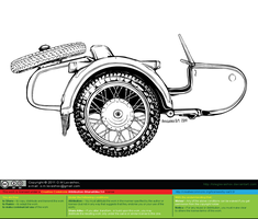 Dnepr Sidecar (USSR) (BW) [vector source] by OlegLevashov